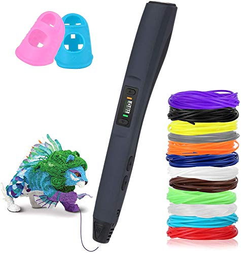 3D Pen, Uzone Creative 3D Printing Pen with 12 Colors Filament, LCD Display, Temperature & 8 Speed Printing Control, Safety Design, PLA & ABS, 3D Craft Pen Holiday Christmas Toys/Gifts for Kids, Black