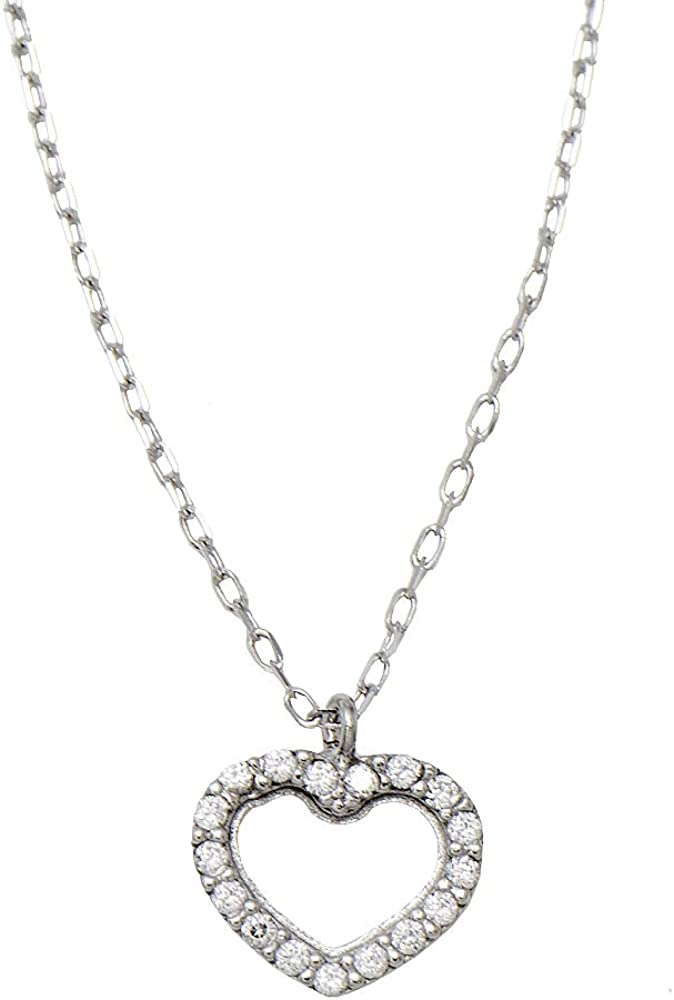 14k White Gold Tiny Sparkly CZ Heart Pendant Necklace w/18-Inch Chain - 8mm, 0.3 inches