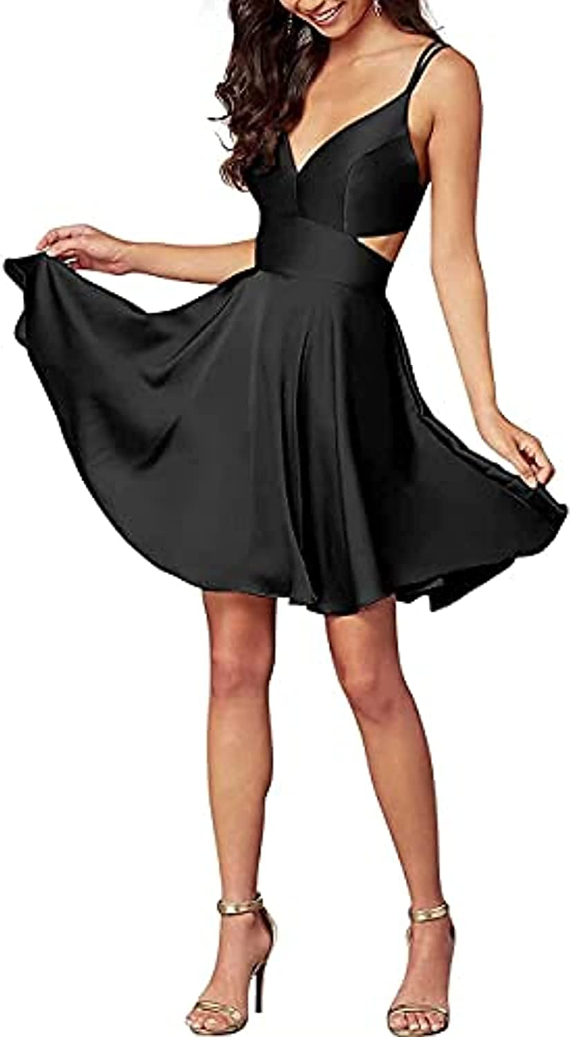selebi Women's Satin Spaghetti Straps V Neck Short Homecoming Dress A-Line Backless Party Gowns
