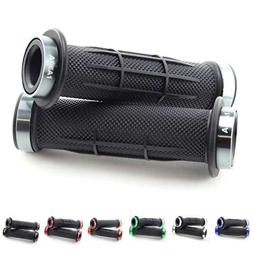 Puños de goma para manillar de bicicleta eléctrica o quad (2 x 22 mm), color gris