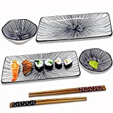 🍣【 6 PCS SUSHI DINNERWARE SET】: This beautiful porcelain dinnerware set serves two people,containing 2 sushi plates, 2 sauce bowls,2 pairs of chopsticks packaged in thick foam box.Great for everyday use or for special occasions. Since these are desig...
