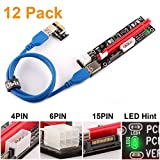 Ubit 12 Pack Latest PCI-E Riser Express Cable 16X to 1X (6pin / MOLEX/SATA) with Led Graphics Extension Ethereum ETH Mining Powered Riser Adapter Card+60cm USB 3.0 Cable