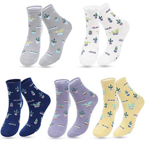 ECOMBOS Damen Socken - 4/5/6 Paar Lustige Socken Baumwoll Lässige Socken Damen Bunt Gemusterte Dressed Geschenk für Frauen und Mädchen (Kaktus)