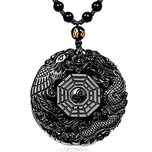 HLARK Collar con Colgante de Piedras de Cristal de Obsidiana Natural de Tai Chi con Grabado de Hielo y Negro