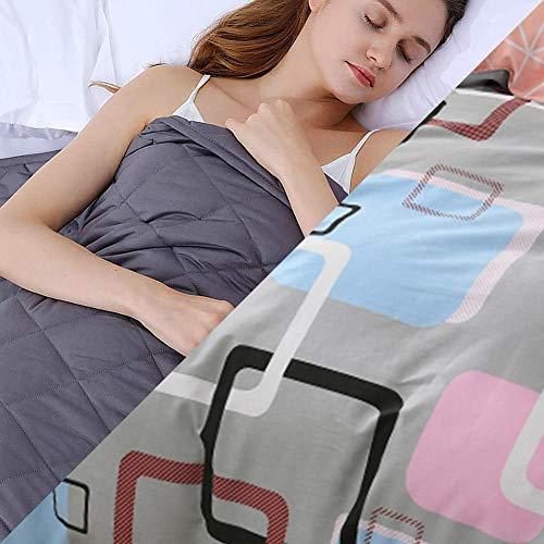 Coperta Terapeutica con Copri,4.5kg Coperta Ponderata per Peso Corporeo 49-63kg per Alleviare L'Ansia da Stress e Dormire Meglio,152x203cm,Grigio