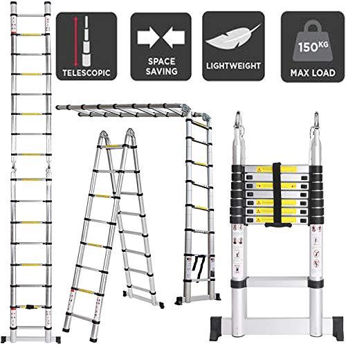 5M Escaleras Plegables Aluminio, Escalera Telescópica 16 Escalones Antideslizantes - 2,5M+2,5M Escalera...