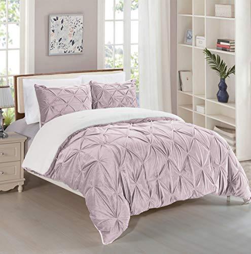 Elegant Comfort Softest, Coziest Micromink Pintuck & Pinch Pleated Sherpa Comforter Set, Premium Down Alternative Micro-Suede 3-Piece Reversible Comforter Set, Full/Queen, Dusty Rose