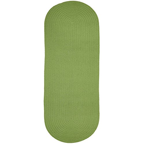 Super Area Rugs Maui Solid Braided Rug Indoor/Outdoor Washable Reversible Carpet, Key Lime Green, 2' X 6' Runner