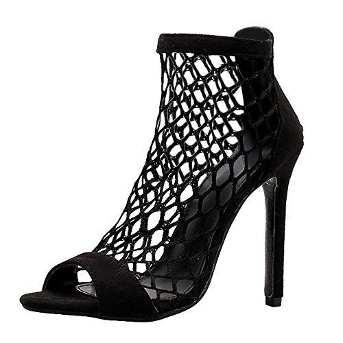 VJGOAL Malla de Verano para Mujer Hueco Botas de Roma Sandalias Moda Sexy Tobillo con Cremallera Súper Zapatos de tacón Alto Tacones Finos Sandalias Tacón de Aguja