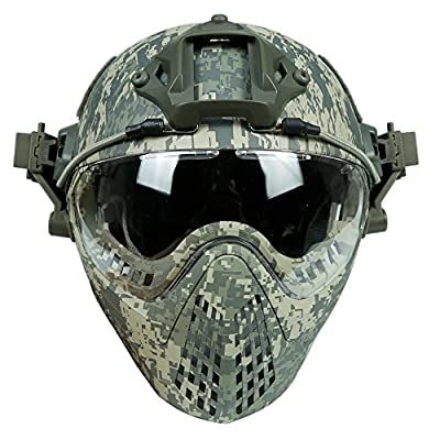 Tactical Area Quick Detachable Paintabll TPU Camouflage Helmet With Goggle Mask