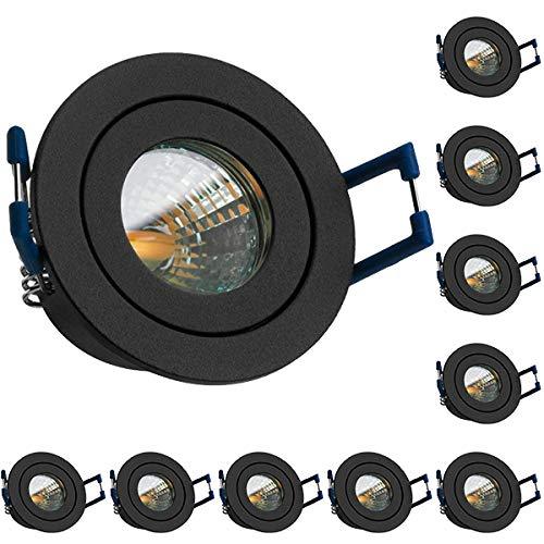 10er IP44 LED Mini Einbaustrahler Set in Anthrazit Grau mit LED MR11 / GU5.3 Strahler von LEDANDO - 2W - warmweiss - 60° Abstrahlwinkel - Bad - Terrassendach - Wintergarten