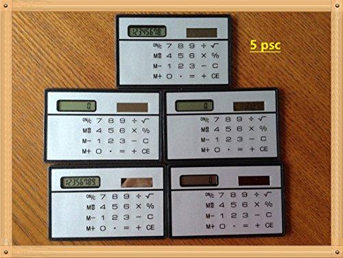 King 's Store 5PCS 8Zeichen Ultra Dünn Slim Mini Kreditkarte Design Solar Power Taschenrechner Machen (Silber)