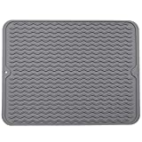 "Large Wavy Silicone Hot Pads Trivet Mats, Rubber Pot Holders Dish Drying Mat, Table Place Mat, Tableware Draining Mat, Non Slip and Heat Insulation Pads 15.7""x 11.8"" (Dark Grey)"