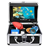 Portable Underwater Fishing Camera, OKK Upgraded Waterproof IP68 DVR Fish Finder with 1024x720p 7 inch HD Screen and 12 PCS White LED Ice Fishing Camera for Ice, Lake, Boat, Sea Fishing (15M Cable)
