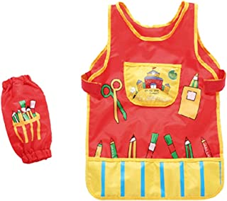 yotijay Kids Children Waterproof Art Apron Feeding Bib Baby Apron Vest W/ Pockets Cuffs