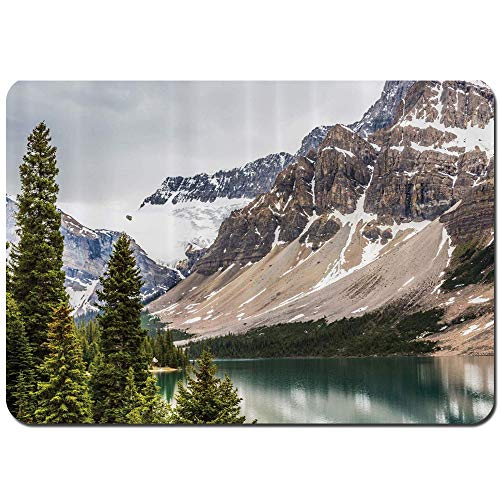 Wdoci Bath Mat Rug,Non Slip Alberta Rocks with Ranges Composed of Shale Limestone Hill Places Photograph Print Bathroom Rug Carpet(75cmx45cm)