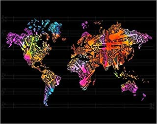 Globe Map made up of Musical Instruments Fine Art Print - 11x14 Unframed Wall Art Photo - Gift for Those Who Love Music. Looks Great In Dorm, Bedroom, Game Room or Classroom. Poster Decor Under $20