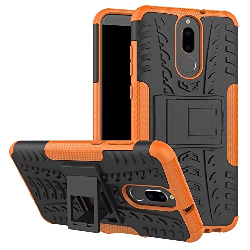 GOGME Funda para Huawei Mate 10 Lite, Armadura Híbrida Plegable Case, Naranja
