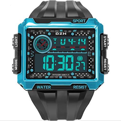 Dan&Dre Reloj deportivo para hombre luminoso, resistente al agua, con pantalla cuadrada, electrónico, reloj de pulsera digital