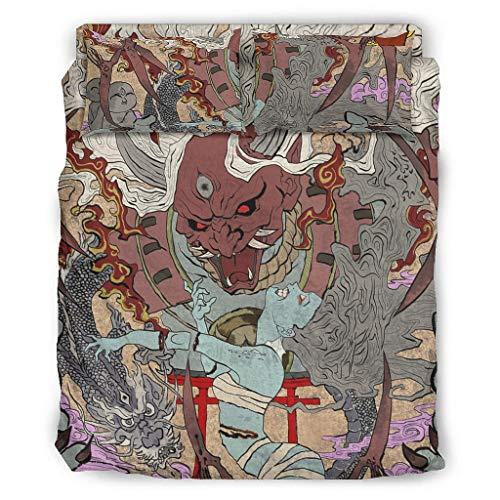 Hothotvery Juego de ropa de cama de 4 piezas con estampado tradicional japonés, Oni Yokai Ukiyoe de 4 piezas, funda nórdica suave y fundas de almohada, color blanco, 240 x 264 cm