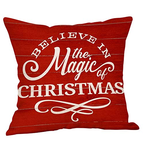 Watonic Christmas Pillow Covers 17.7'x17.7',Pillow Cases Linen Sofa Cushion Cover Home Decor Pillow Case (I)