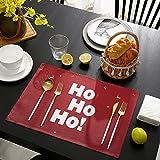 Juego de 4 manteles individuales Ho Merry Christmas Santa Claus y Alce Animal Reno Pino sobre Rojo Mantel Antideslizante lavable para banquetes de vacaciones, comedor, cocina, mesa