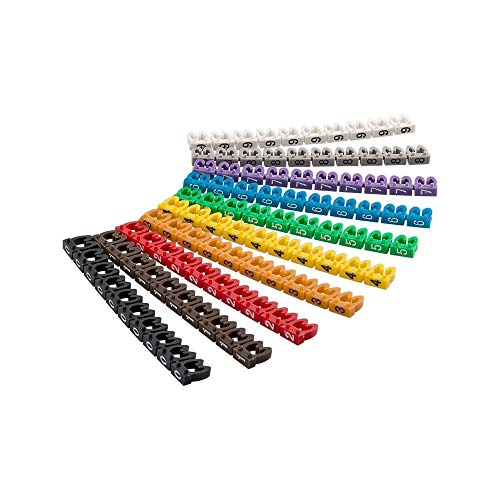 Goobay 72514 kabelmarkeringsklämmor 0-9 för diameter, 4 mm färgad