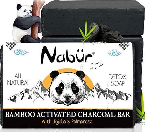 Nabür - 4 Savons Charbon Actif de Bamboo   Jojoba, Olive, Coco, Palmarosa   Savon Acné Exfoliant, Savon visage   Tonique, Peaux grasses, Points noirs   Fabrication Occitanie