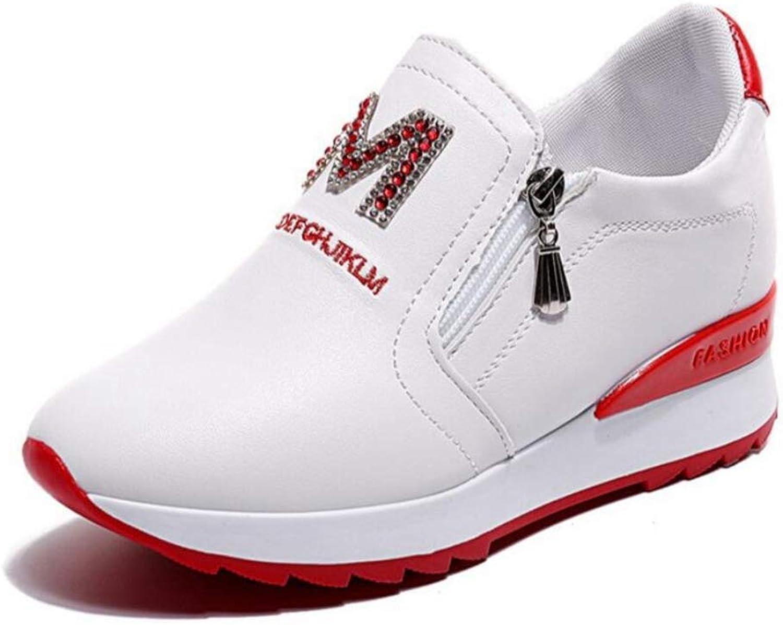 Wallhewb Women White Platform Wedges Fashion Bee Sneakers Ladies High Heel Valentine shoes Elegant Joker Internal Increasing Comfortable No Griding Feet Leg Length Soft Red 6 M US shoes