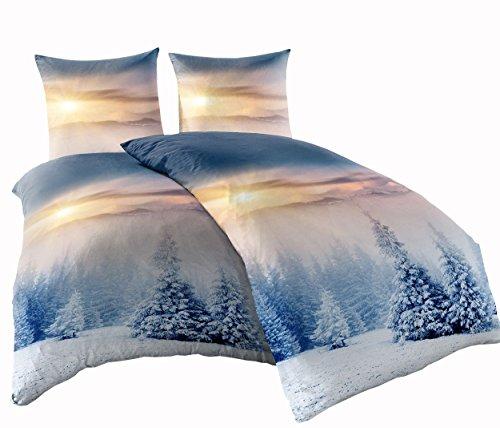 Leonado Vicenti 4 TLG. Thermofleece Bettwäsche 135x200 cm Winterlandschaft Schnee Tannen Winter Flausch warm Sparset mit Reißverschluss