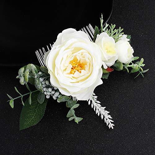 Peineta de novia hecha a mano con diseño de flores de imitación...