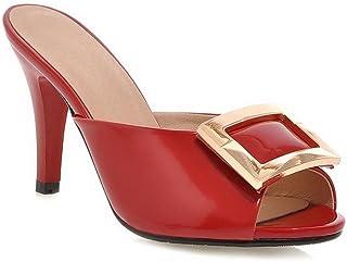 [BalaMasa] 女性用ファッションコーン型ヒールpeep-toe模造レザーサンダル