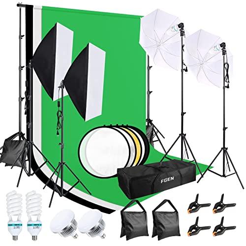 Softbox Fotostudio Set, FGen Baumwolle Greenscreen Set 2.6Mx3M Fotostudio Hintergrundsystem mit 135W CFL Fotolampe 85W LED Fotolampe Reflektor Fotoschirme Sandsack für Produkt Porträt Video Fotografie