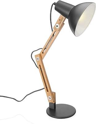 Navaris Lampe de Bureau en Bois - Lampe Design LED à Poser avec Bras Articulé en Hévéa - Lampe Vintage pour Table de Chevet - E27-40W