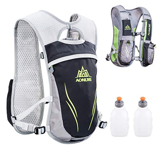TRIWONDER Outdoors Mochilas Trail Marathoner Laufen Race Hydration Vest Rucksack (grau – mit 2 Wasserflaschen)