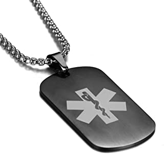 Gun Black Plated Stainless Steel Medical Alert ID Pendant Necklace,Free Engraving 20-24 inch