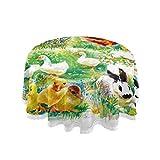 LIUBT Nappe ronde en aquarelle de Pâques avec motif lapin, poulail, oie de poulet, décoration de maison, vacances, Noël, anniversaire, mariage, salle à manger, pique-nique, cuisine lavable 60 cm