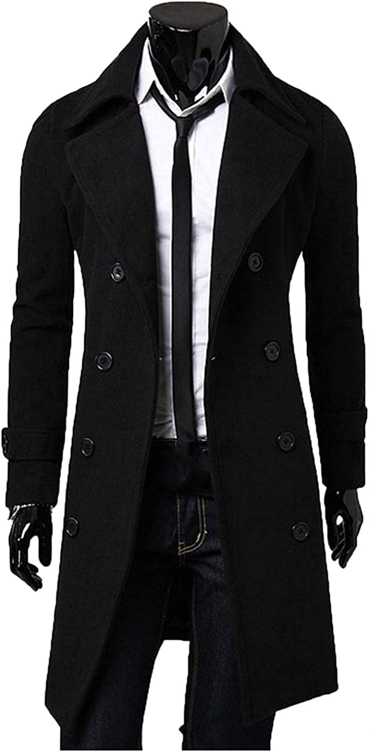 LEIYAN Mens Casual Trench Coat Casual Long Sleeve Lapel Double-Breasted Slim Fit Cotton Windbreaker