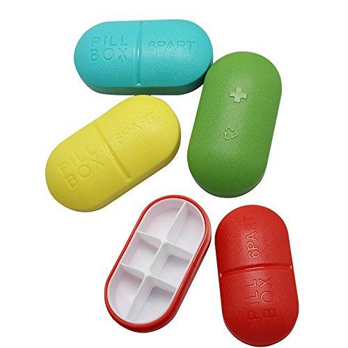 BlueBeach® Paquete de 2 Pastilleros de Viaje Caja Organizadora de Vitaminas Medicina 6 Compartimentos de Almacenamiento (Color Aleatorio)
