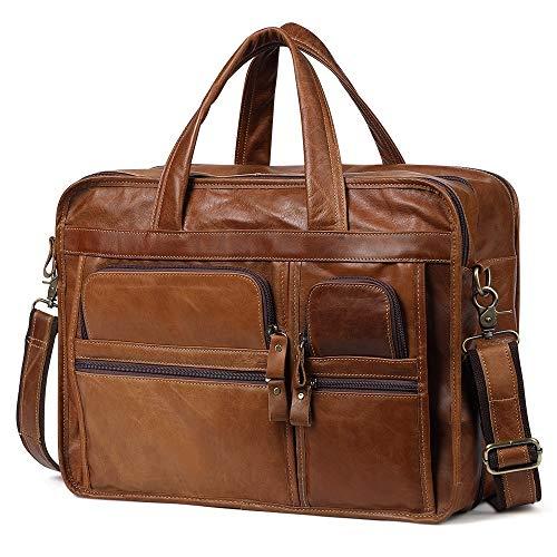Herenmode schouder diagonaal pakket, echt lederen tas manaktenkoffer laptoptas van leer voor 14 inch laptop