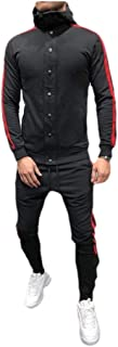 RkYAO Men Relaxed-Fit Skinny Button Hood Assorted Colors Tracksuit Jog Set