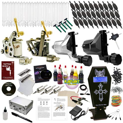 Hildbrandt Tattoo Kit Professional 4 Machine Set + TKHPRO2 Gun Needle Power Supply Inks Carrying...