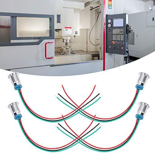 Luz indicadora LED de 110-220V 12mm LED LED de doble color de metal para modificación de computadora para interruptores de control de acceso(Red green, Pisa Leaning Tower Type)