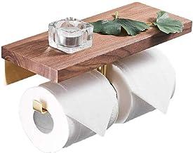 XYZMDJ Houten Toiletpapierhouder-Industriële Stijl Dubbelrol Toiletpapierhouder, Messing Wandmontage Tissue Dispenser Rack...