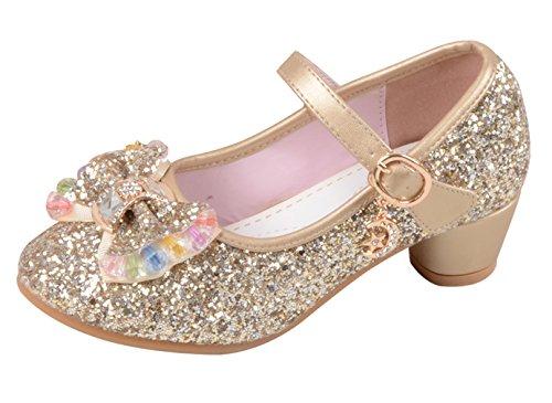 La Vogue Zapatos Zapatilla con Lentejuela Para Niña Princesa Fiesta Dorado Color 27/Longitud Interior 18CM