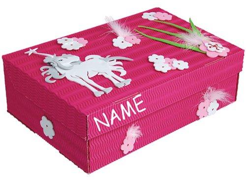 alles-meine.de GmbH Bastelset Schulbox / Kreativbox - incl. Name - Pferd Einhorn Mädchen rosa pink - Schule Basteln Malbox für Kinder / Zeichenbox Schachtel / Spielzeugkiste / BO