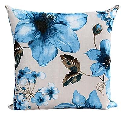 Pillow Case,Bokeley Cotton Linen Square Beautiful Flowers Print Decorative Throw Pillow Case Bed Home Decor Car Sofa Waist Cushion Cover (Blue)
