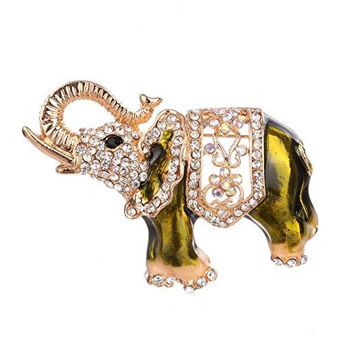 Tierbrosche, Legierung Elefant Brosche Pin mit Zirkon Dekoration Zubehör Elefant Corsage Broschen Kleidung Anzug Schal Abzeichen für Mädchen Frauen Schmuck Hochzeit Braut(Grün)