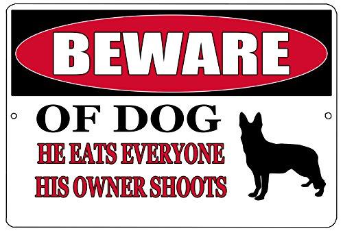 Rogue River Tactical Funny Beware of Dog Metal Tin Sign Wall Decor Man Cave Bar Pro Gun Warning