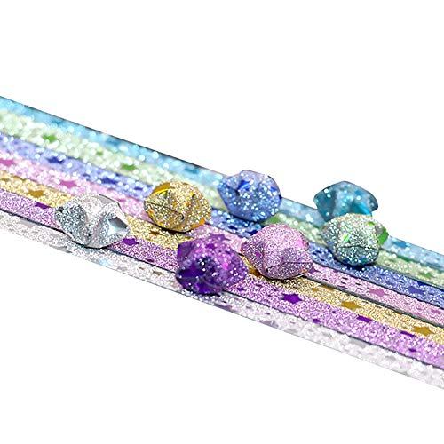 Hilai 140pcs / Pack-Stern Origami Papier Stern Muster 7 Stil Lucky Star Glitter Origami Papier DIY Stern Papierstreifen